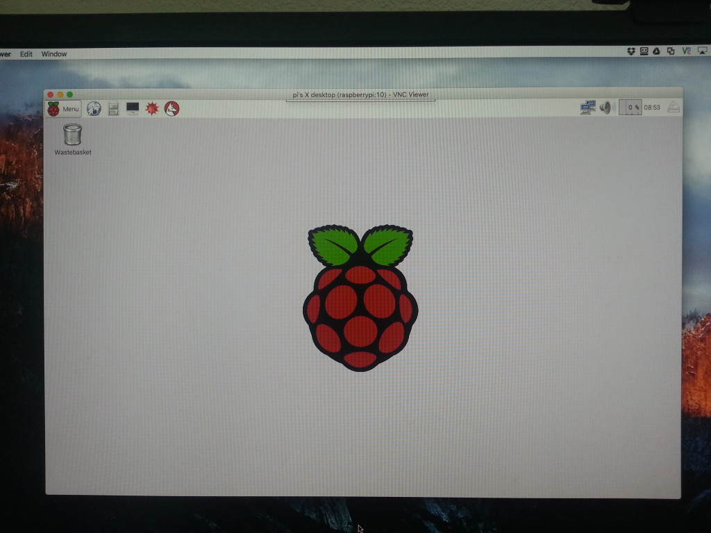 Initial Raspbian window running on Raspberry PI